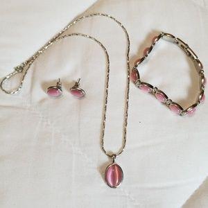 Silver Pink Jewel Bracelet Necklace Earring Set